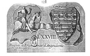 Seal of Hugh le Brun, count d'Angouléme from Jean Marchand, Les Armoiriesde La Maison de Rochefoucauld