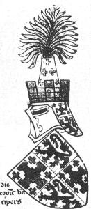 Crest of the King of Cyprus from Jean Marchand, Les Armoiries de La Maison de Rochefoucauld