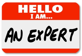 The words Hello I Am An Expert written on a red nametag or sticker for a consultant or other business professional to wear and solicit new clients and business for his firm or practice
